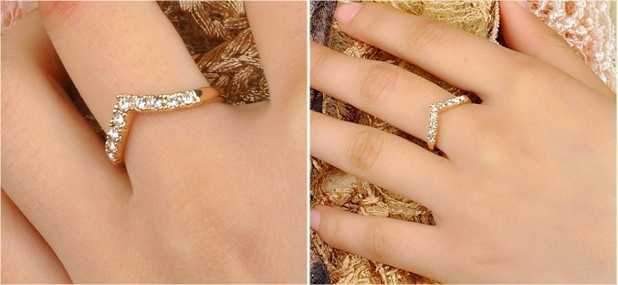 Lover Hot Sell Elegant Gold Color Wedding Ring Made with Genuine Austrian Crystals Full Sizes Wholesales 5
