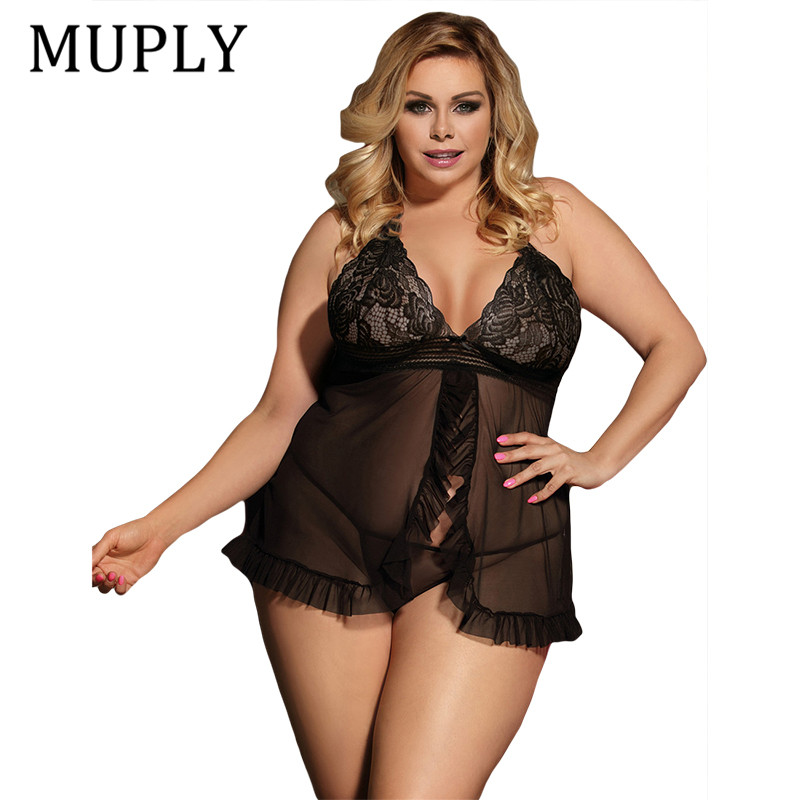 Sexy Erotic Underwear Women Baby doll Sexy Lingerie Hot Black Transparent Plus Size Lingerie Sleepwear Porn Dress Deep V Neck