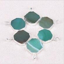 1PC Natural Stone Charms Agates Pendants Green Slice Agat Crystal Quartz Pendant DIY Fit Necklaces