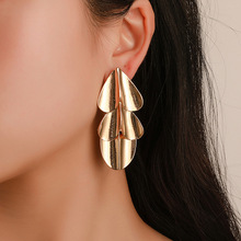 2019 New Hot Gold Silver Multi-layered Heart Earrings for Women Exaggerated Mirror Leaf Female Ear Jewelry Birthday Gift