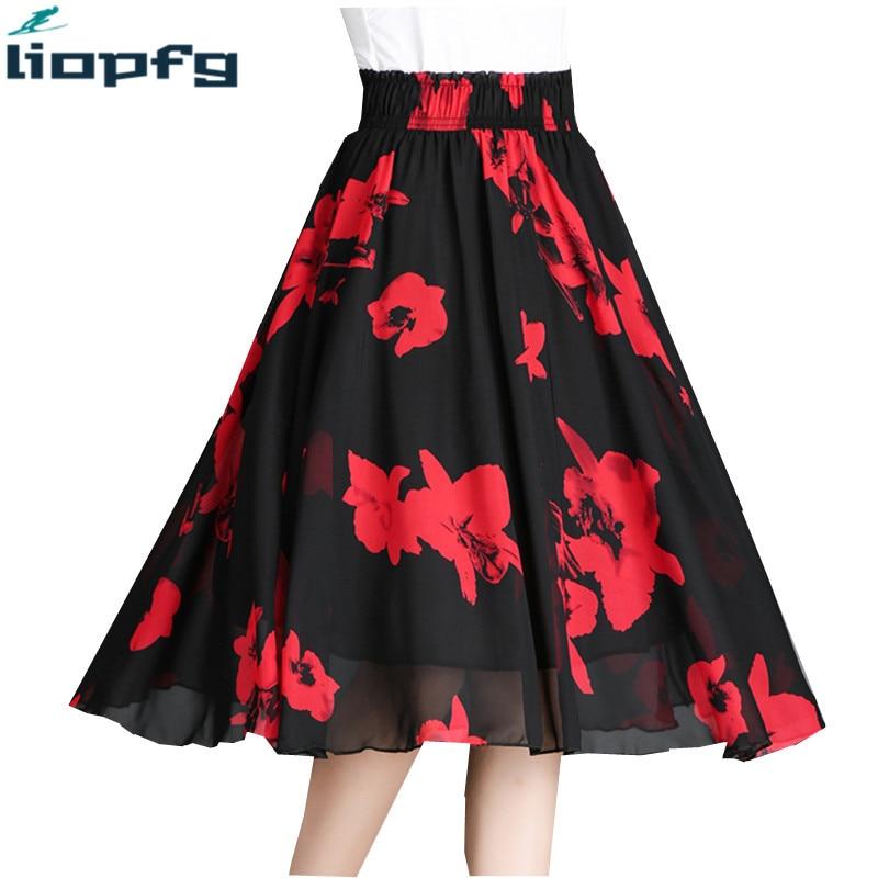 Chiffon Summer Skirt Elastic Waist Printing Fashion Large Swing Skirt 2018 New High Waist A Word In The Long Fairy Skirt LZ649