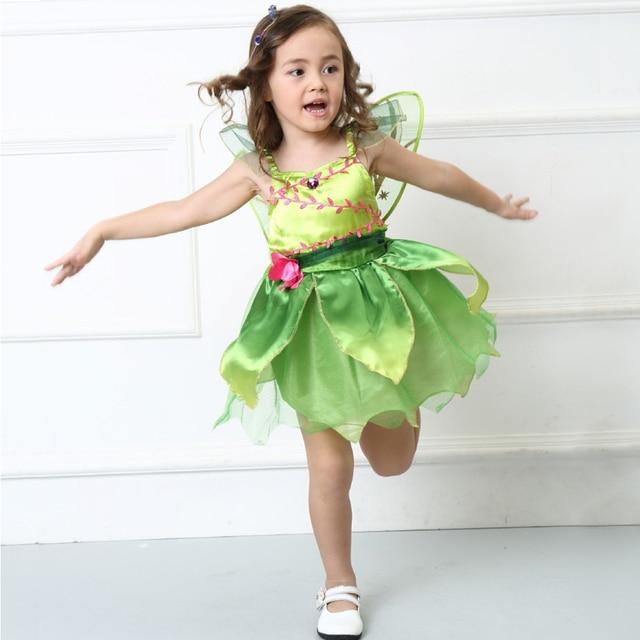 07d78fb63f Niños bebé Niñas Halloween party Flor de hadas Tinker Bell para la muchacha  Elf Tinkerbell princesa