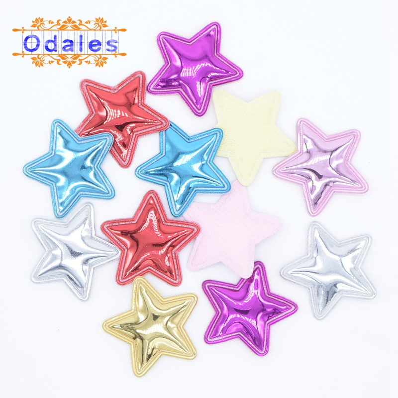 80Pcs Shiny PU Heart/Crown/Cat Head/Star Applique Shape Padded Patches DIY Headwear Accessories Hair Clips Scrapbooking Stickers