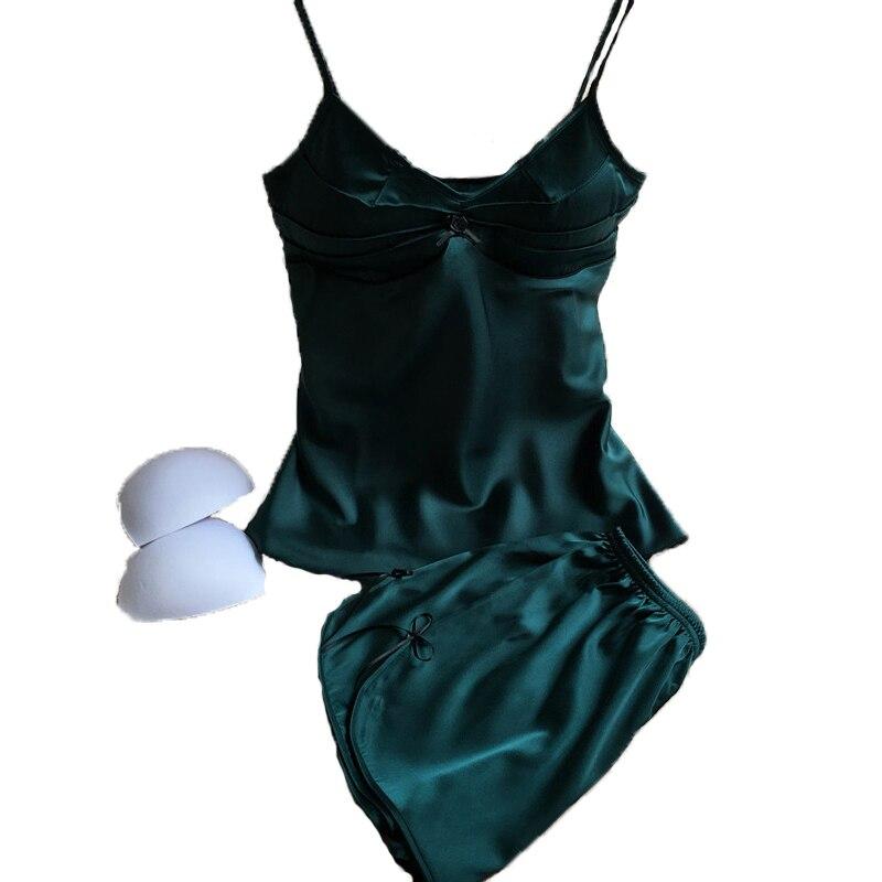Brand womens sexy two pieces satin silk pajamas sets sleepwear & lounge summer sleeveless pyjamas sets for woman pijamas