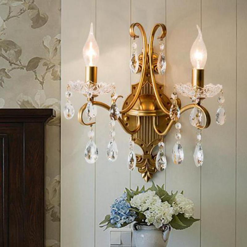 Gold Modern LED Wall Lamp Moderno Hotel Porch Wall light Bedroom Bedside Crystal Lamp Mirror lights led gold antique wall sconce