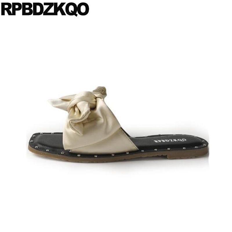 2245e7216409 Kawaii Slides Rivet Comfortable Shoes Satin Summer Sandals Green Beige Flat  Toe On 2018 Cute Bowtie ...