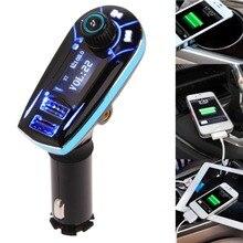Moduladores FM Bluetooth Transmisor FM Car Audio Reproductor de MP3 portátil de Salida USB Cargador Inalámbrico Kit de Coche Azul de la Alta Calidad