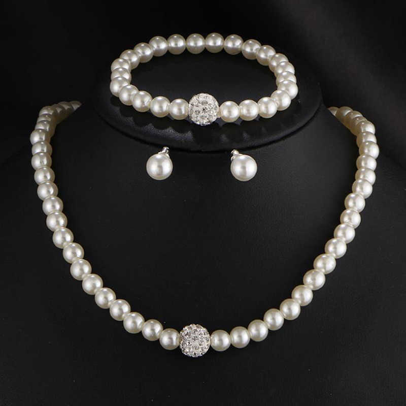 New Fashion Classic Imitation Pearl Necklace Earring Set Clear Crystal Elegant Party Gift Women Wedding Pearl Jewelry Sets CT115