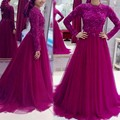 Púrpura Musulmán Kaftan Manga Larga de Encaje Formal Vestidos de Baile Árabe Dubai Una Línea de Alta Cuello Largo de Tul Desfile de Noche de Baile vestidos