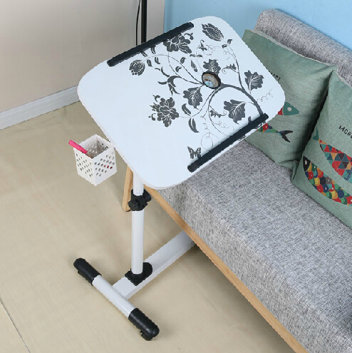 Fashion Printing Mobile Laptop Table Modern Multifunction Lazy Bedside Table Height Adjustable Lift Computer Desk 250632 laptop table lazy table bedside lift lift simple desk simple lazy little desk anti slip baffle design
