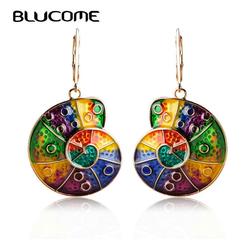 Blucome Colorful Rainbow Color Snail Shape Pendant Earrings Alloy Enamel Drop Earrings Holiday Ear Accessories Long Pendientes long chain enamel bird shape drop earrings