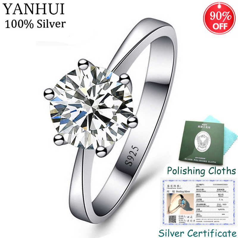 Sent Certificate! Fine Jewelry Original Solid 925 Silver Ring Solitaire 1 Carat 6mm CZ Diamant Wedding Rings for Women CR023
