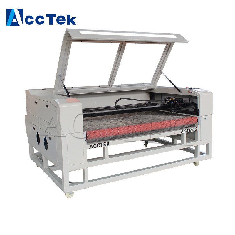 ACCTEK cheap 1610 cnc fabric cutting machine/Auto Feeding Laser Cutting embroidery machine for sale