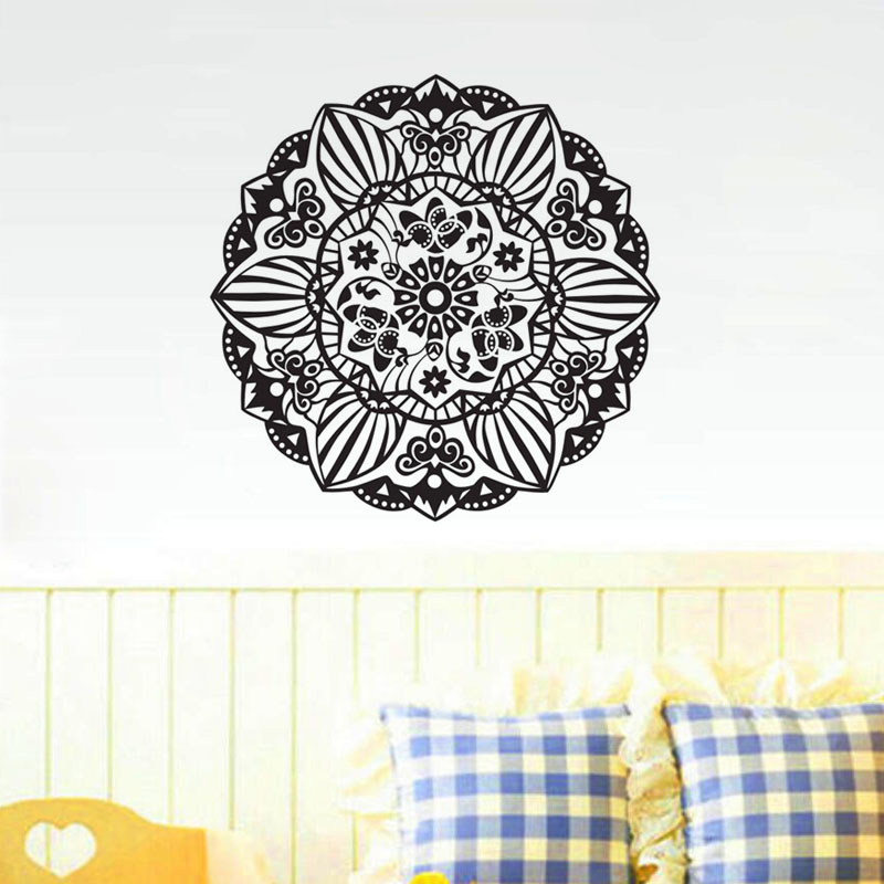 3d Large Size Round Dots Tree Wall Stickers Home Decor: Round Mandala Wall Stickers Home Decor Yoga Namaste Wall