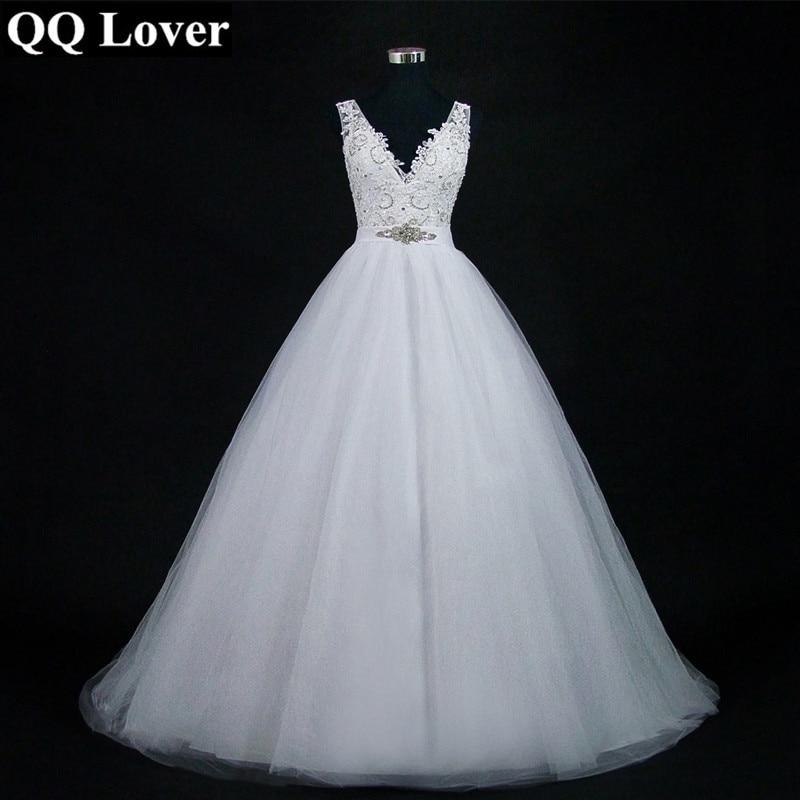 QQ Lover 2019 Sexy V neck Ball Gown Wedding Dresses Plus Size Train Vestido De Noiva