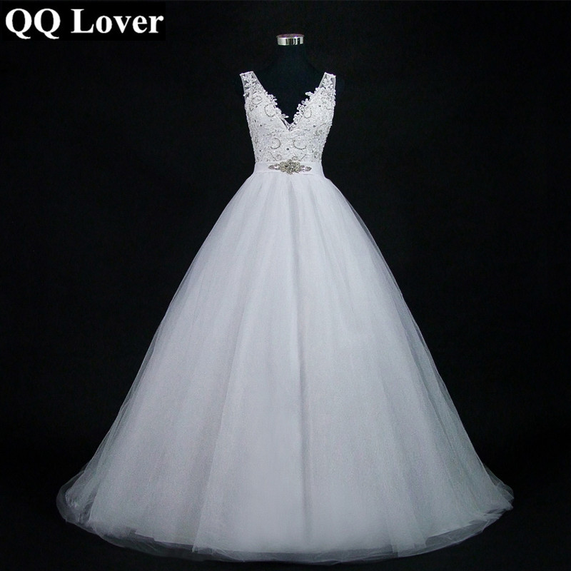 QQ Lover 2019 Sexy V-neck Ball Gown Wedding Dresses Plus Size Train Vestido De Noiva Wedding Gowns