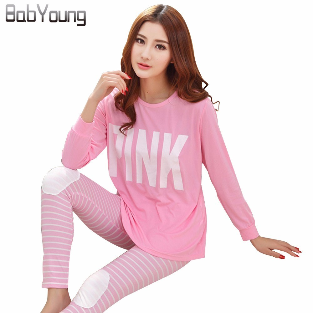 BabYoung Women   Pajamas     Sets   Letter Print O-Neck Long Sleeve Pyjamas Microfiber Homewear Sleepwear Pijamas Mujer Nighty Pink