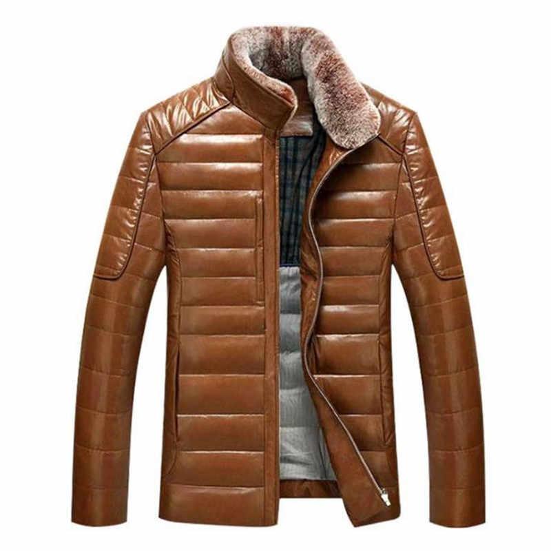 Tuoluniu 2017 Зима Новый пуховик Мужская кожаная куртка мужской пуховик ветрозащитное теплое пальто воротник с кроличьим мехом
