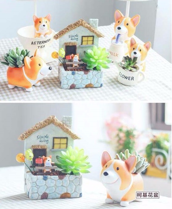 Image 5 - CAMMITEVER Corgi Dog Planter Garden Plant Container Miniature Ornament Potted Flower Craft Microlandschaft Succulent Cactus Herb-in Figurines & Miniatures from Home & Garden