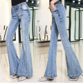 2017 Women Jeans Fashion New Style Flare Pants Sexy Girl Full Length High Waist Jeans Ripped Jeans For Women