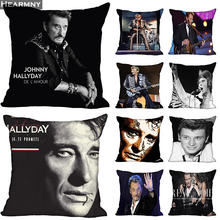 54ed337843d1 New Arrival Johnny Hallyday Pillow Cover Bedroom Home Office Decorative  Pillowcase Square Zipper Pillow cases Satin