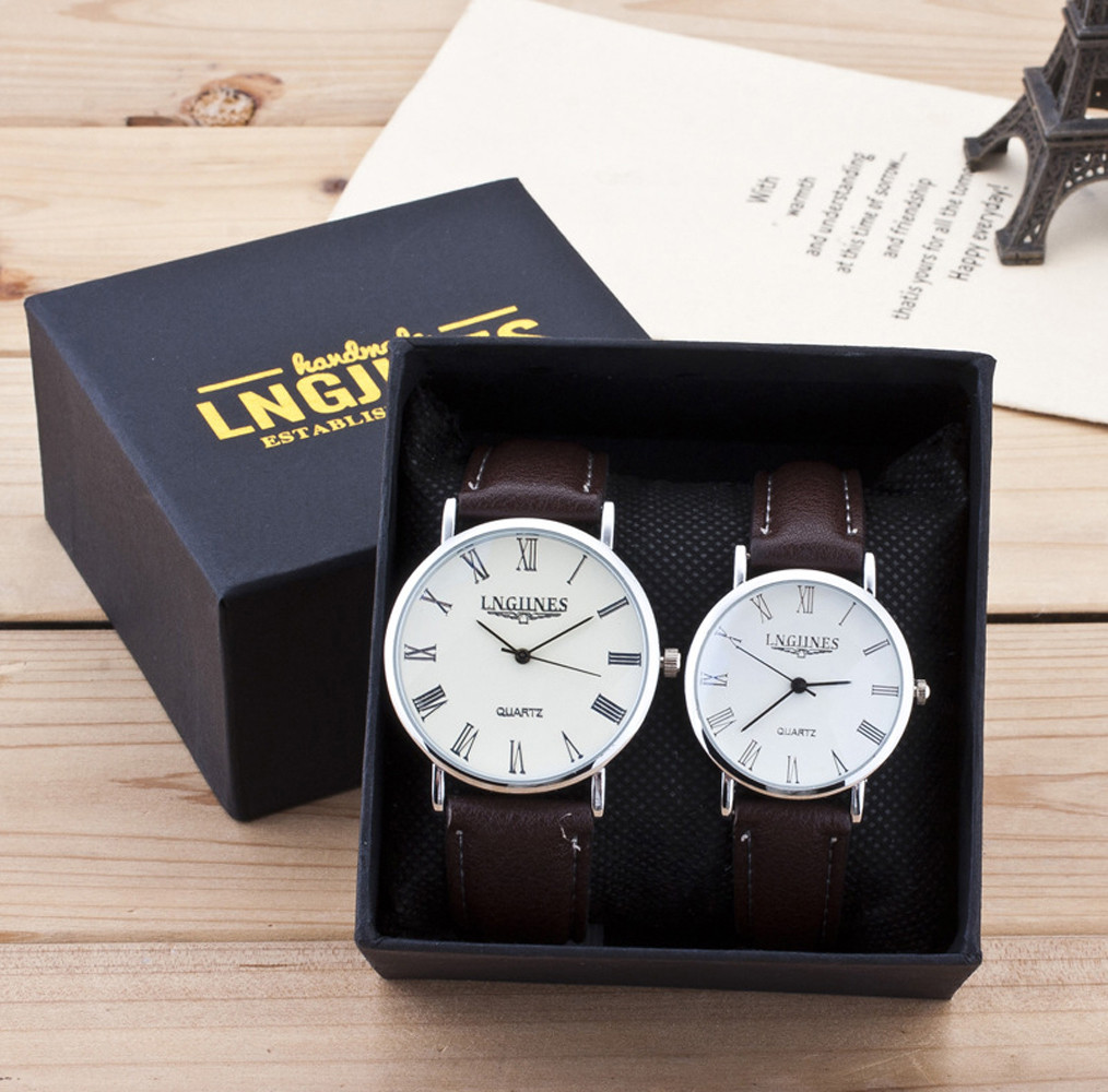 2018 New 2pcs Fashion Couple High Gloss Glass Leather Belt Watch Set Contains Box #NE1111(China)