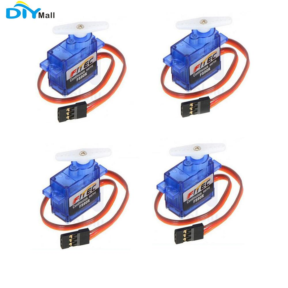 4pcs/lot Feetech FS90R 360 Degree Continuous Rotation Micro RC Servo 6V 1.5KG DIYmall