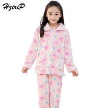 b386bde751 HziriP Neue Herbst Winter Kinder Flanell Pyjamas Sets Dicken Warmen Tops +  Hosen 2 Stücke Anzug Nachtwäsche Kinder Mädchen Junge.