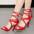 2017 лето высокие каблуки ремень сандалии для женщин открытым носком Гладиатор cross tie sandles дамы красный/Черный партия обуви стриптизерши каблуки