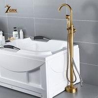 ZGRK античный латунный Смеситель для ванны напольный носик Ванна Смеситель кран с ручной душ смеситель набор воды
