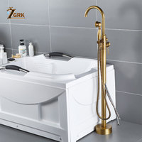 ZGRK Antique Brass Bathtub Faucet Floor Mounted Swive Spout Tub Mixer Tap with Handshower Handheld Bath Shower Mixer Water Set