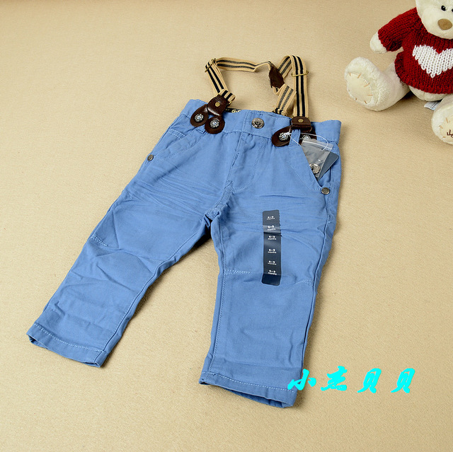New arrival Baby Blue suspender trousers Boys kids 3 clip Strap casual pants Brand clothing Wholesale