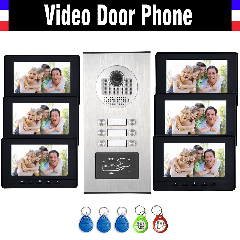 6 Units Apartment Intercom System Video Intercom Video Door Phone Kit HD Camera 7 Monitor with RFID keyfobs for 6 Household my apartment