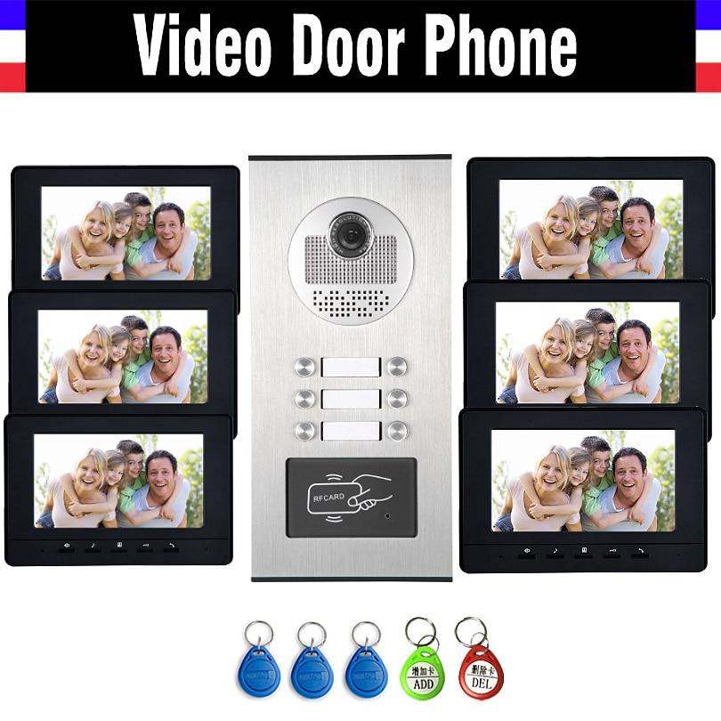 6 Units Apartment Intercom System Video Intercom Video Door Phone Kit HD Camera 7