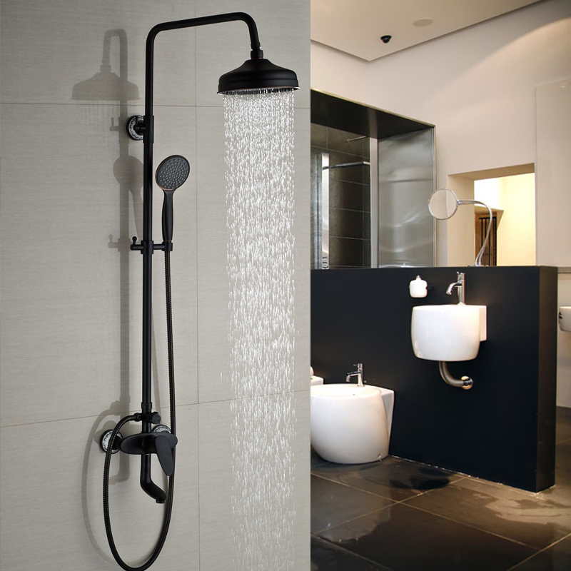 Oil rubbed Bronze Wall Mounted Shower Mixer Taps Bathroom in Wall 8 Rainfall Shower Tub Faucet
