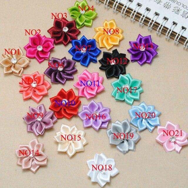 A Pack 100Pcs/Lot DIY Hand Made DIA 2.6Cm Satin Rose Ribbon Flower ...