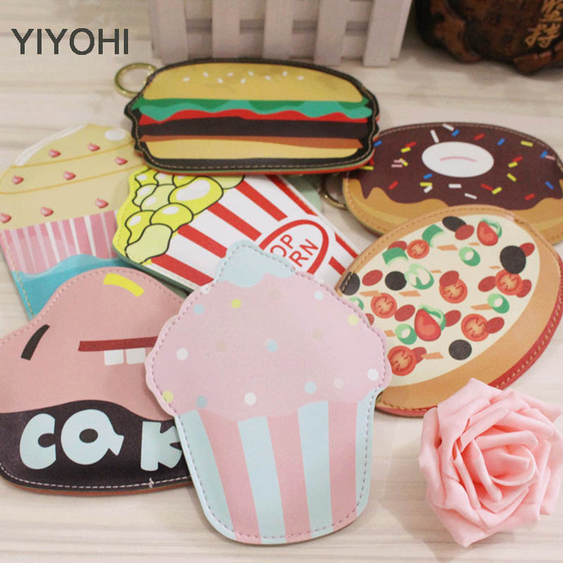 YIYOHI High Quality Cotton Leather Cake Ice Cream Pizza Zipper Change Mini Wallet Girls Small Wallet Coin Bank Case Key Chain edtid new high quality small commercial ice machine household ice machine tea milk shop