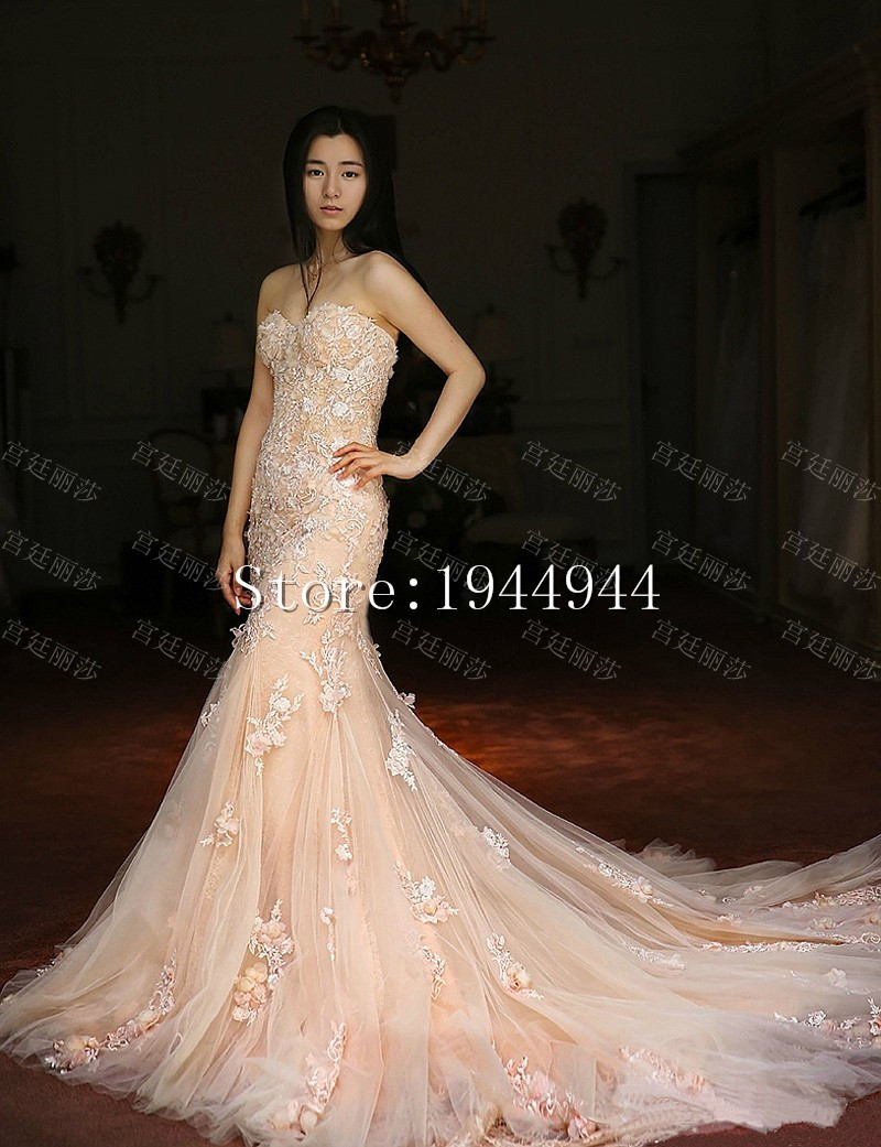 Popular Light Pink Beaded Mermaid Wedding Dress-Buy Cheap Light ...