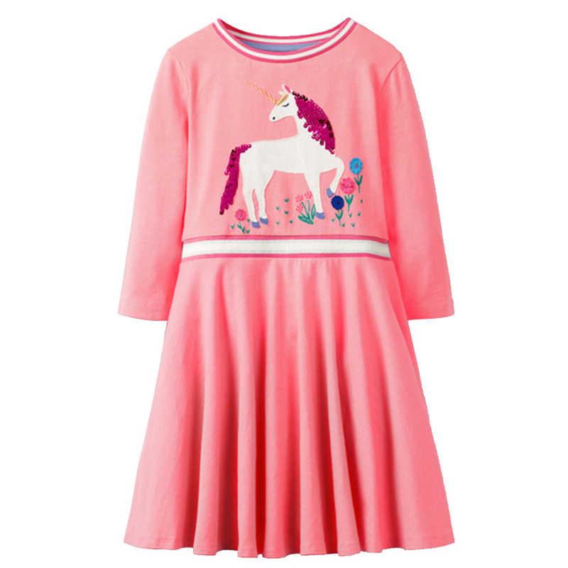692ee399d578 ... VIKITA Girls Unicorn Dress Long Sleeve Children Princess Dress Kids  Sequined Party Christmas Licorne Dresses Baby ...