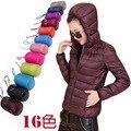 Mulheres ultra jaqueta leve para baixo com Chapéu Do inverno pato para baixo jaquetas parka das mulheres fino de manga comprida fina casacos de zíper bolsos sólida