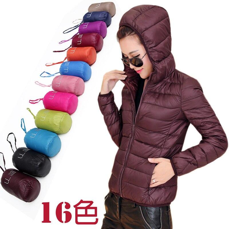 370086f6e women ultra light down jacket with Hat winter duck down jackets women slim  thin long sleeve parka zipper coats pockets solid