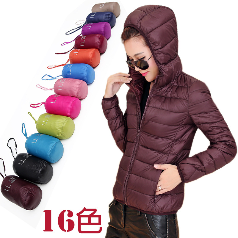 women ultra light   down   jacket with Hat winter duck   down   jackets women slim thin long sleeve parka zipper   coats   pockets solid