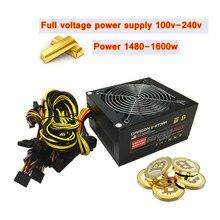 ASIC mining rig source 1600W PC power unit ETH BTC miner ATX 12V 124A server power supply Full voltage 100-240v psu 6 video card