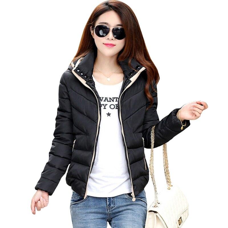 2019 New basic Jacket Women Autumn Winter Short Coats Solid Hooded Down Cotton Padded Slim Warm Pockets Female Jacket Coats