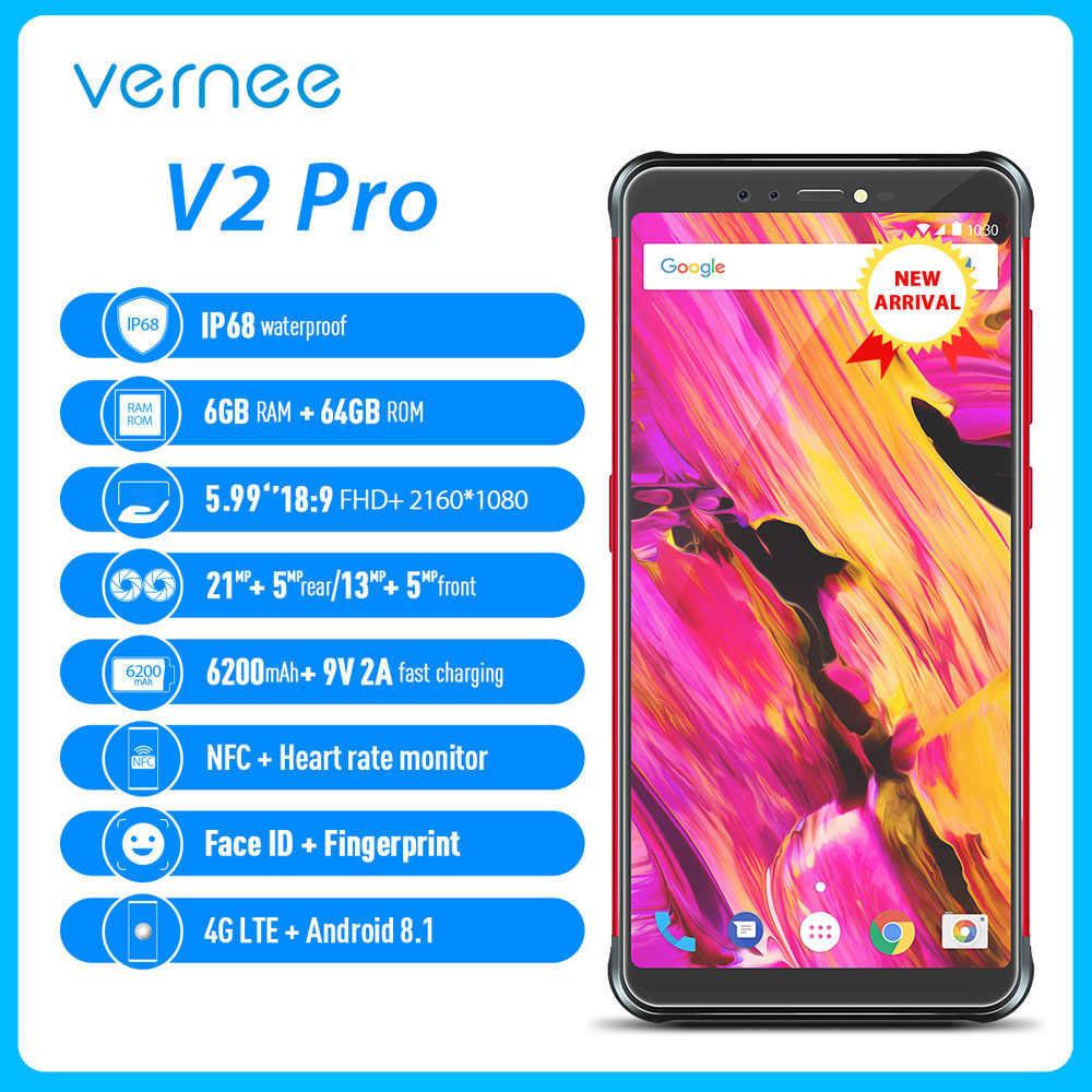 Vernee V2 Pro 4G teléfono móvil IP68 impermeable FHD + 2160*1080p Face ID 6GB + 64GB 21MP + 5MP 13MP + 5MP 4 cámaras 6200mAh teléfono resistente