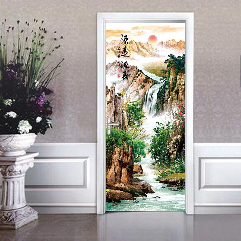 3d Enjoy a long history landscape painting Door Sticker Door Wallpaper Mural Poster PVC Waterproof Bedroom Home Decor