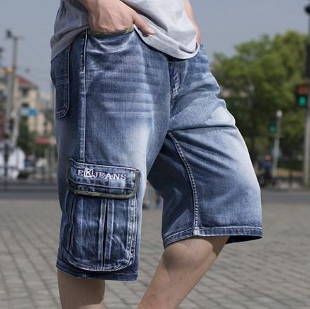 ФОТО Mens Baggy Denim Cargo Blue Jeans Pants Cargo Pocket Loose Jeans For Men Summer Big Jeans Skateboard Shorts Plus Size 42 44 46