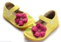 Meninas do bebê squeakers squeaky shoes PU mary jane amarelo floral primeiros caminhantes para crianças 1-5 anos de luxo zapato chaussure novo
