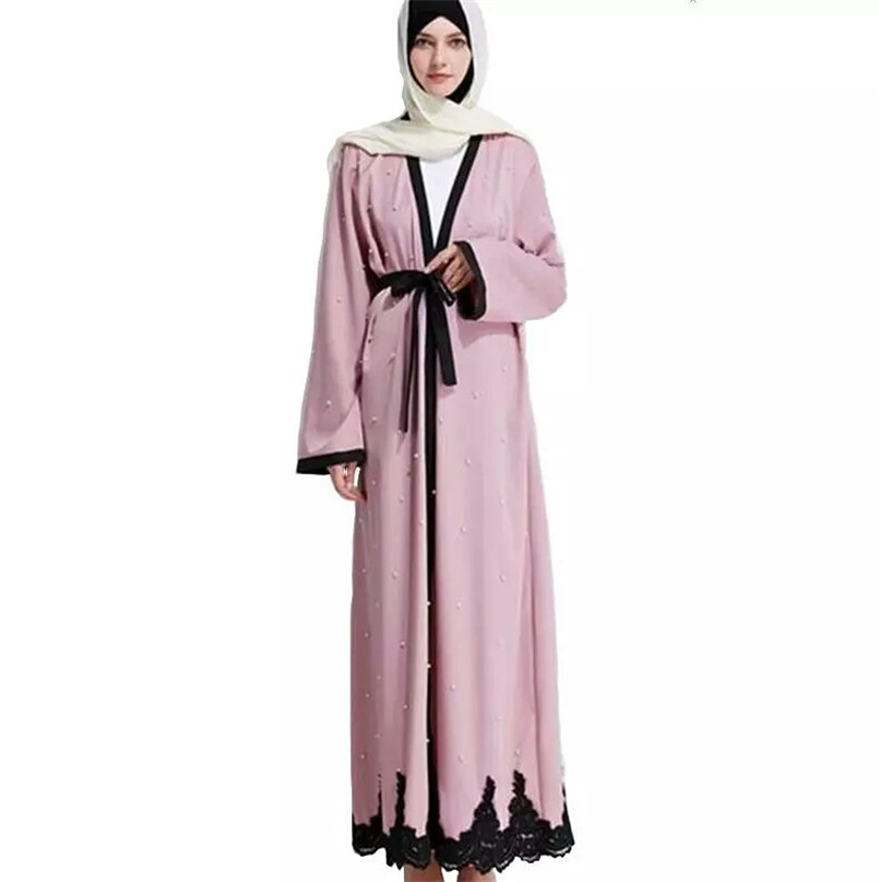 High End Pink & Black Patchhwork Muslim Ramadan Handmade Pearls + Lace Robes Fashion Muslim long Dress With Buttons + Belt