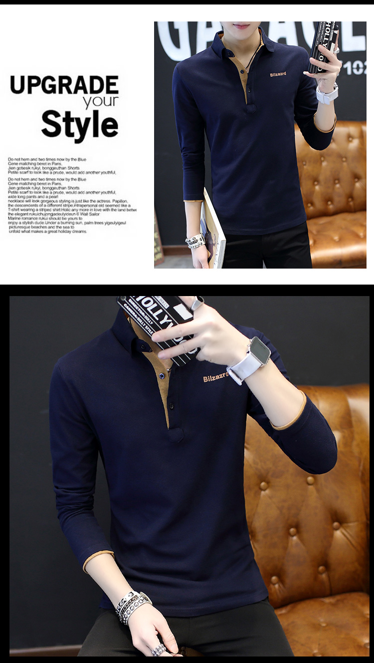 2019 men splicing t-shirts with short sleeves Comfortable in summer youth leisure lapel t-shirts 39